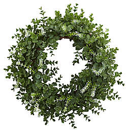 Nearly Natural 18-Inch Double Ring Eucalyptus Wreath