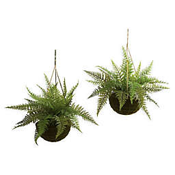 Nearly Natural 13-Inch Leather Fern with Mossy Hanging Basket (Set of 2)