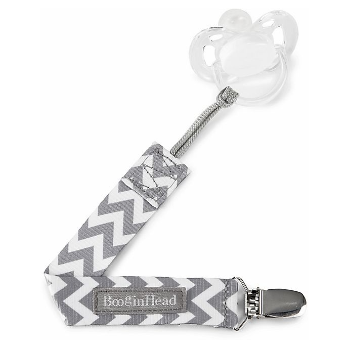 Alternate image 1 for BooginHead® PaciGrip 2-Pack Pacifier Straps in Grey Chevron
