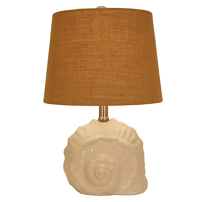 Alternate image 1 for Décor Therapy Meri Conch Shell Table Lamp in Gloss White with Fabric Shade