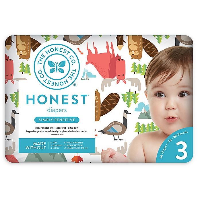 Alternate image 1 for Honest 34-Pack Size 3 Diapers in Into the Wild Pattern