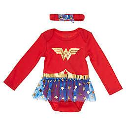 2-Piece Wonder Girl Tutu Bodysuit and Headband Set in Red