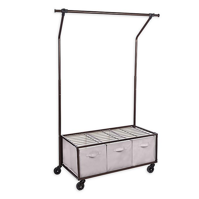 Alternate image 1 for Honey-Can-Do® Garment Rack with 3 Bins
