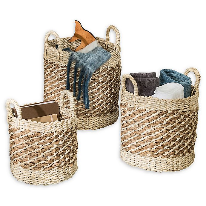 Alternate image 1 for Honey-Can-Do® Coastal 3-Piece Round Natural Weave Storage Baskets Set in Natural