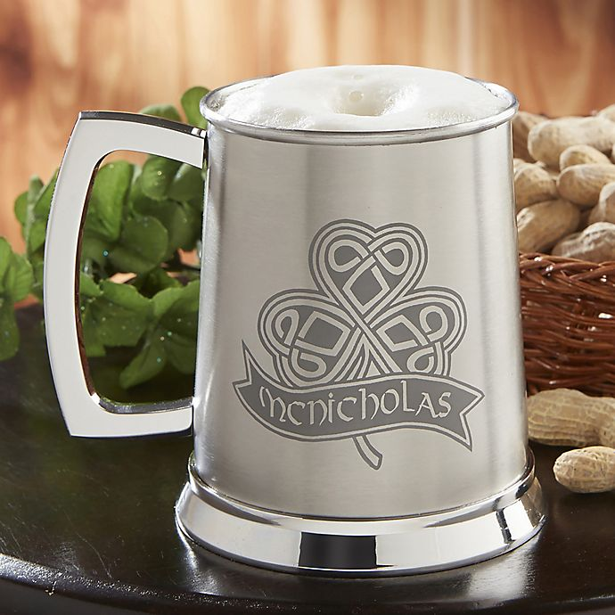 Alternate image 1 for Celtic Shamrock 20 oz. Stainless Steel Tankard