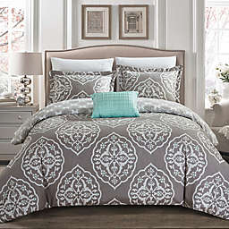 Chic Home Abello 6-Piece Reversible Twin XL Duvet Cover Set in Grey
