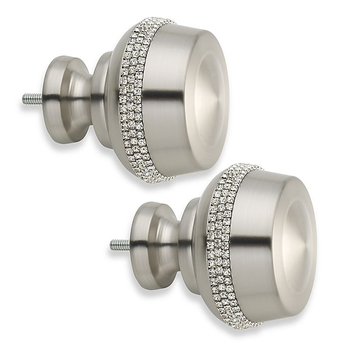 Alternate image 1 for Cambria® Elite Twinkle Button Finial in Brushed Nickel (Set of 2)