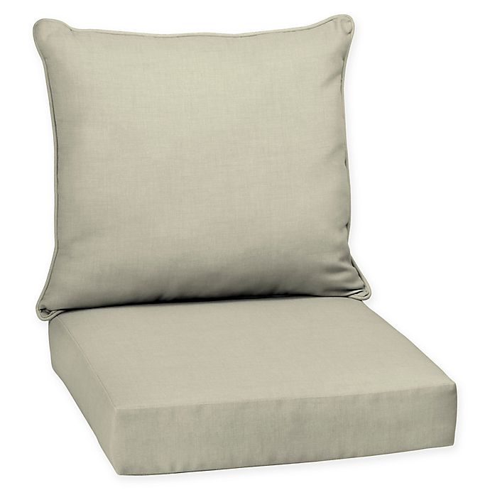 Alternate image 1 for Arden Selections™ Leala 2-Piece Outdoor Deep Seat Chair Cushion in New Tan