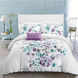 Chic Home Gladys Reversible Queen Duvet Cover Set in Lavender