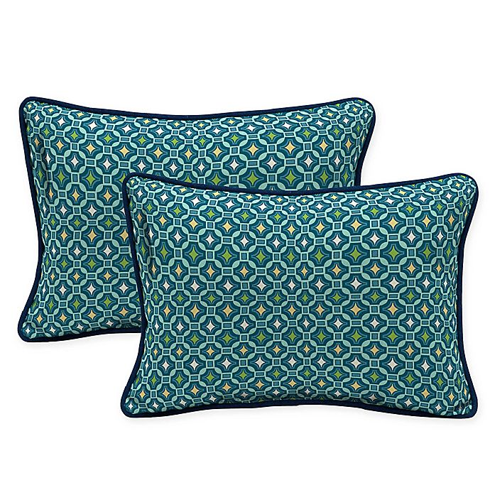 Alternate image 1 for Arden Selections Tile Oblong Lumbar Throw Pillows in Blue (Set of 2)