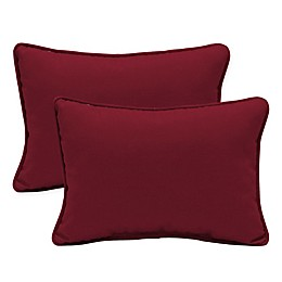 Arden Selections Caliente Canvas Oversized Lumbar Pillows in Red (Set of 2)