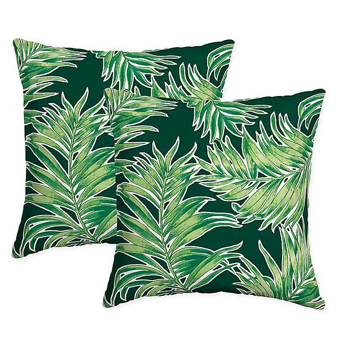 Alternate image 1 for Arden Selections™ Quintana Square Indoor/Outdoor Throw Pillows in Green (Set of 2)