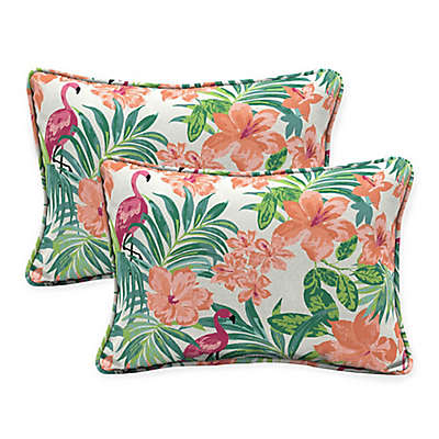 Selections By Arden Luau Flamingo Oversized Lumbar Pillows in Cream (Set of 2)