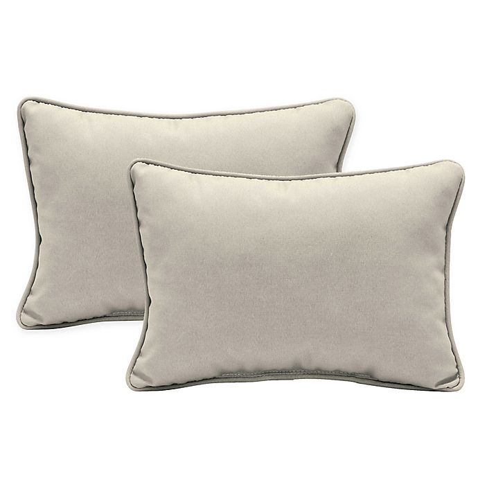 Alternate image 1 for Arden Selections™ Oversized Oblong Indoor/Outdoor Lumbar Pillows in Cream (Set of 2)