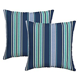 Arden Selections™ Aurora Stripe Square Indoor/Outdoor Throw Pillows in Blue (Set of 2)