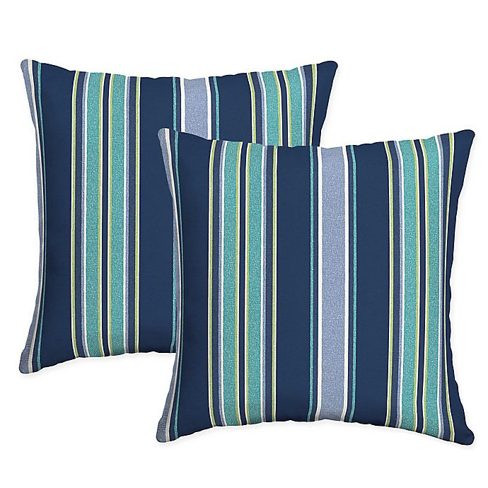 Arden Selections Aurora Stripe Square Indoor Outdoor Throw Pillows In Blue Set Of 2 Bed Bath Beyond