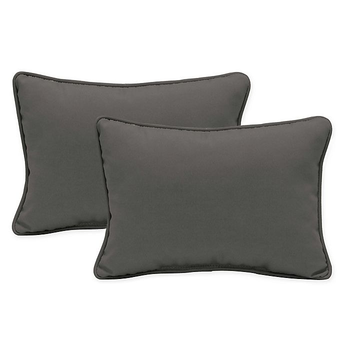 Alternate image 1 for Arden Selections™ Oversized Oblong Indoor/Outdoor Lumbar Pillows in Grey (Set of 2)