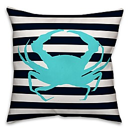Designs Direct Blue Crab Square Outdoor Throw Pillow in Navy/White Stripe