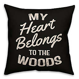 """Designs Direct """"My Heart Belongs to the Woods"""" Square Outdoor Throw Pillow"""