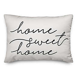 """Designs Direct """"Home Sweet Home"""" Oblong Outdoor Throw Pillow in White/Black"""