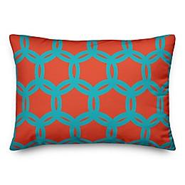Designs Direct Geo Oblong Outdoor Throw Pillow in Orange/Teal