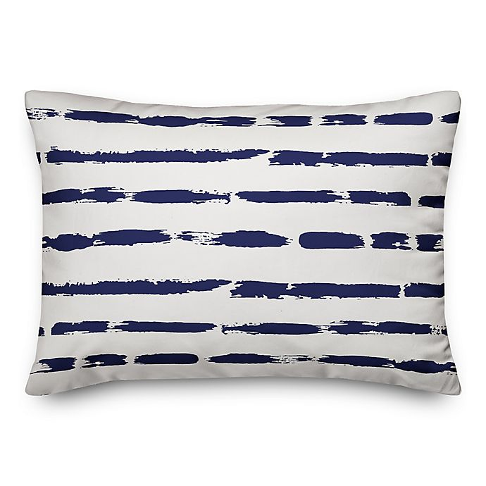 Alternate image 1 for Designs Direct Painted Blue Strokes Oblong Outdoor Throw Pillow