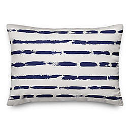 Designs Direct Painted Blue Strokes Oblong Outdoor Throw Pillow