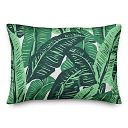 Designs Direct Painted Green Palms Oblong Outdoor Throw Pillow in Green/White