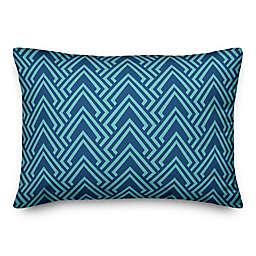 Designs Direct Diamond Indoor/Outdoor Oblong Throw Pillow in Teal/Blue