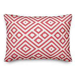 Designs Direct Coral Ikat Indoor/Outdoor Oblong Throw Pillow in Coral/White