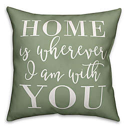 """Designs Direct """"Home is Wherever"""" Indoor/Outdoor Square Throw PIllow"""