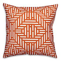 Designs Direct Aztec-Inspired Indoor/Outdoor Square Throw Pillow in Orange