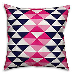 Designs Direct Geometric Triangle Indoor/Outdoor Square Throw Pillow in Pink/Blue