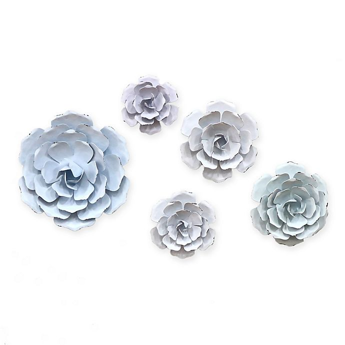 Alternate image 1 for Marmalade Pastel Flowers 5-Piece Metal Wall Décor Set