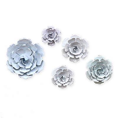 Pastel Flowers 5-Piece Metal Wall Décor Set