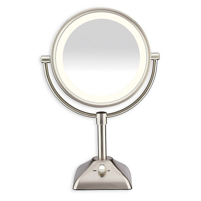 Alternate image 1 for Conair® Variable Lighted 1X/10X Mirror in Satin Nickel