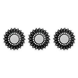Flower Starburst 9.5-Inch Round Wall Mirrors in Black (Set of 3)