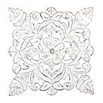Fetco Home Décor Toan White 15.5-Inch Square Wood Wall Art