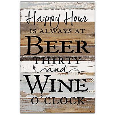 "Sweet Bird & Co. ""Happy Hour Wine"" 12-Inch x 18-Inch Wood Wall Art"