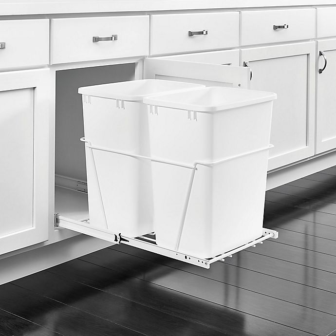 Alternate image 1 for Rev-A-Shelf - RV-18PB-2 S - Double 35 Qt. Pull-Out White Waste Containers with Full-Extension Slides