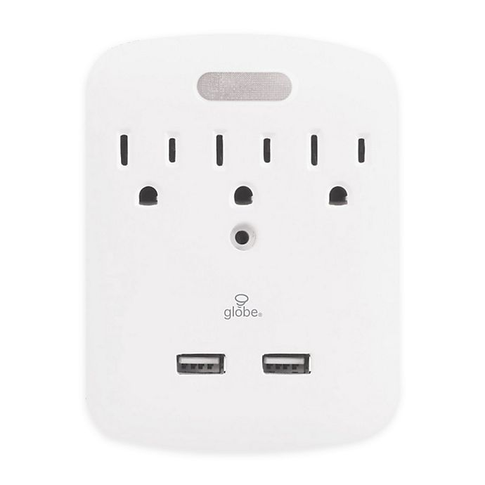 Alternate image 1 for Globe Electric® 3-Outlet Charging Surge Protector Wall Tap with Nightlight in White