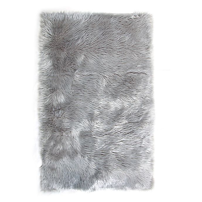 Alternate image 1 for Tadpoles™ Faux Fur 3' x 5' Shag Area Rug in Grey