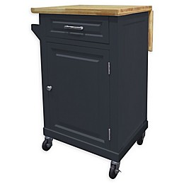 No Tools 1-Door/1-Drawer Rolling Kitchen Island