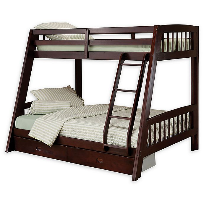Alternate image 1 for Hillsdale Furniture Rockdale Twin Over Full Storage Bunk Bed in Espresso