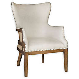 Pulaski Upholstered Wing Arm Chair in Off-White