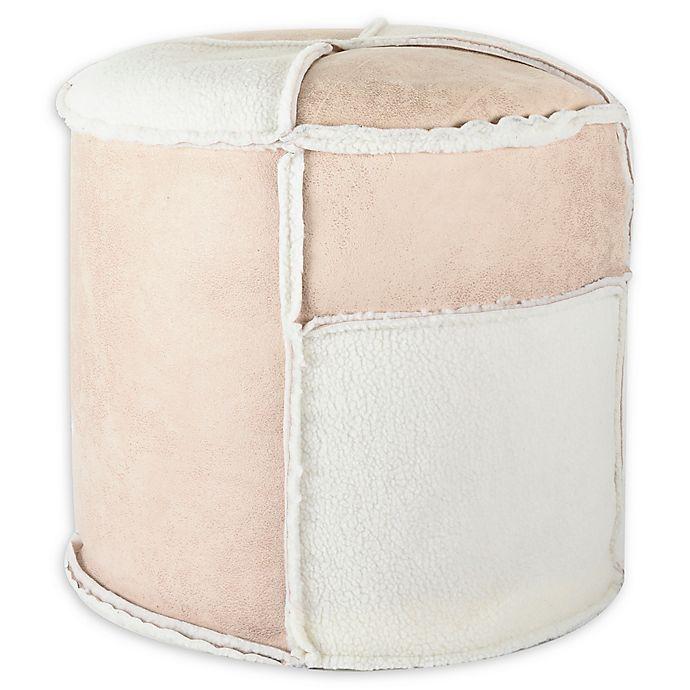 Alternate image 1 for UGG® Patchwork Bean Bag Ottoman in Beige/White