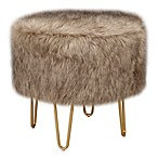 Intelligent Design Tindra Faux Fur Round Stool in Brown