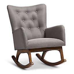 Baxton Studio Rubberwood Upholstered Waldmann Chair in Grey