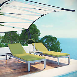 Modway Shore 3-Piece Chaise with Cushions in Silver/Peridot