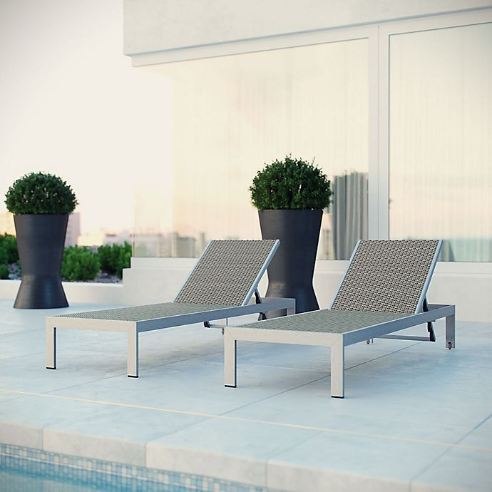 Alternate image 1 for Modway Shore Outdoor Chaise in Silver/White (Set of 2)